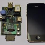 Raspberry Pi next to iPhone 4S