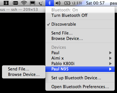 OS X 10.5 Leopard Bluetooth Menu Options