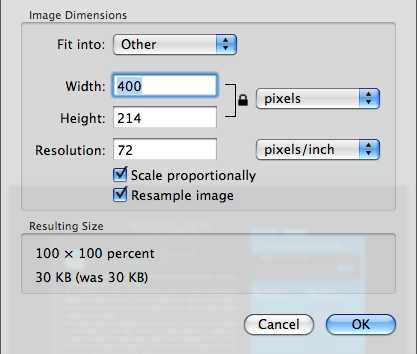 OS X 10.5 Leopard Preview Image Resize Options