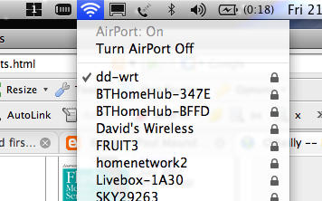 OS X 10.5 Leopard Wireless Networks Dropdown
