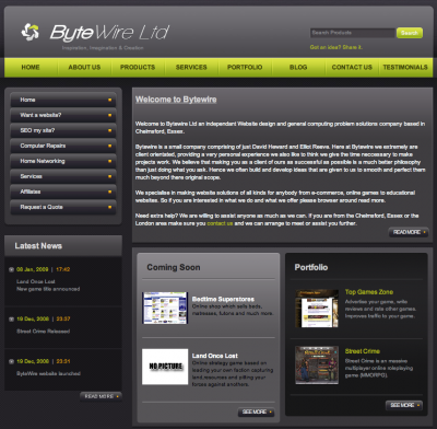 Screen shot of Bytewire home page