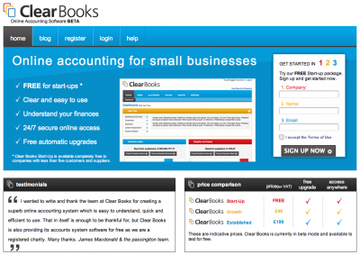 Screenshot of Clear Books home page.