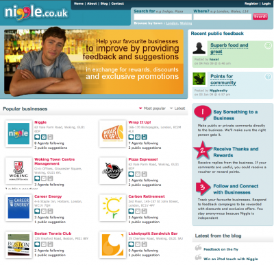 Screen shot of Niggle home page.