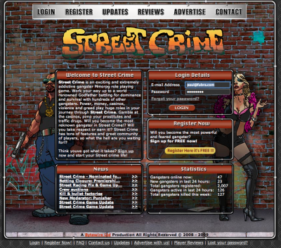 Screen shot of Street Crime home page.