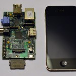 Raspberry Pi next to iPhone 4S